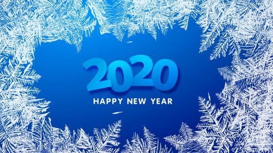 2020 Happy New Year frostwork wallpaper