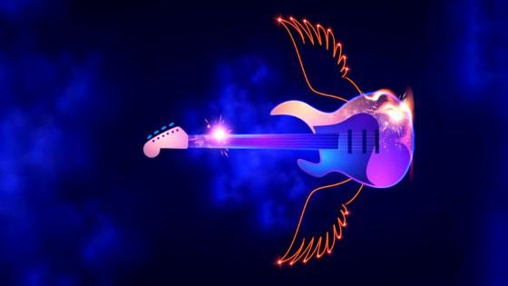 Flying guitar in blue sky wallpaper