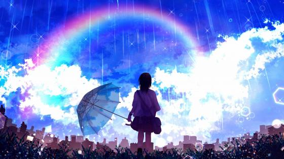 Anime Girl With Rainbow wallpaper