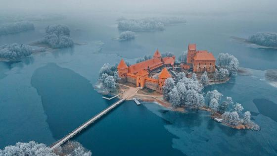Aerial view of Trakai Castle, Lithuania wallpaper