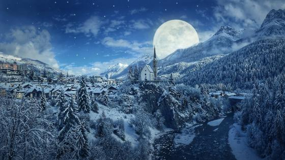 Winter full moon wallpaper