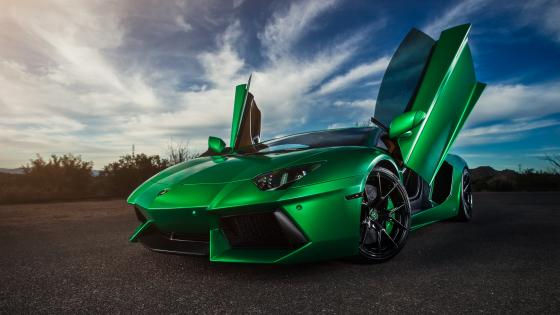 Green Lamborghini Aventador wallpaper