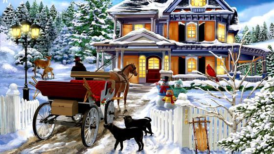 Winter Visit wallpaper