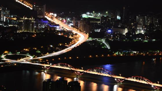 Night View of Taipei and Guandu Bridge wallpaper