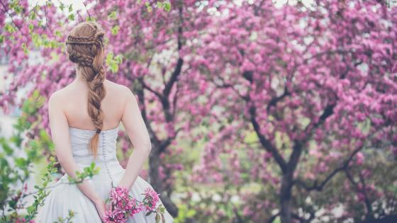 Beautiful bride on wedding day wallpaper