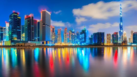 Colorful lights of Dubai with Burj Khalifa wallpaper