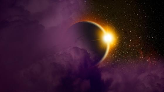 Sunrise space art wallpaper