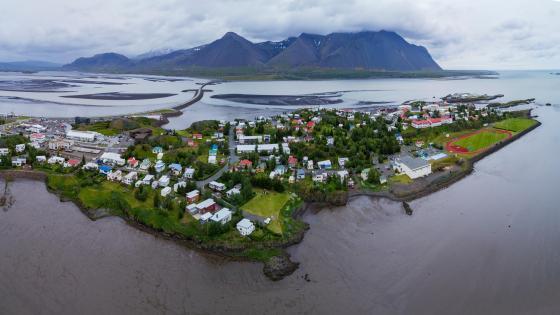 Aerial Panorama of Borgarnes, Iceland wallpaper