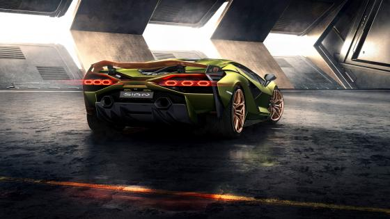 Lamborghini Sian rear view wallpaper