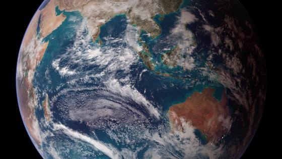 Twin Blue Marbles: Eastern Hemisphere (Australia, Southeast Asia & Africa) wallpaper
