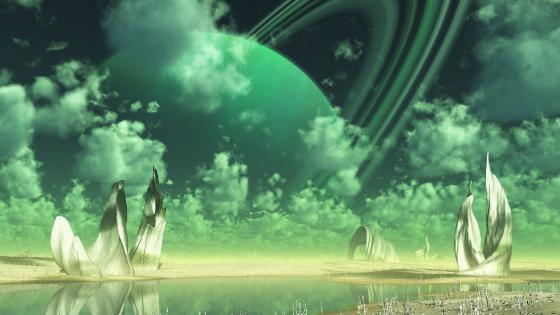 Green alien planet wallpaper