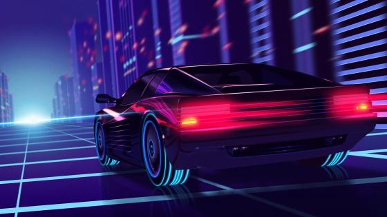 Synthwave Ferrari Testarossa wallpaper