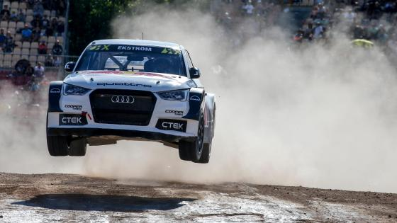 Mattias Ekström's Audi S1 Jumping at the 2016 World RX of Barcelona wallpaper