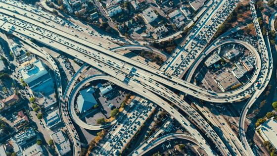 Aerial View of a Los Angeles Freeway Interchange wallpaper