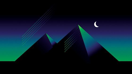 Retrowave pyramids wallpaper