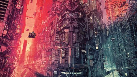 Cyber futuristic city wallpaper