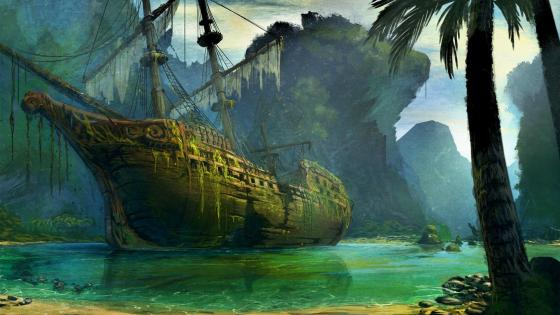 Shipwreck in the lagoon wallpaper