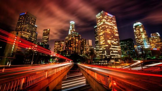 Los Angeles at night Long Exposure Photography wallpaper