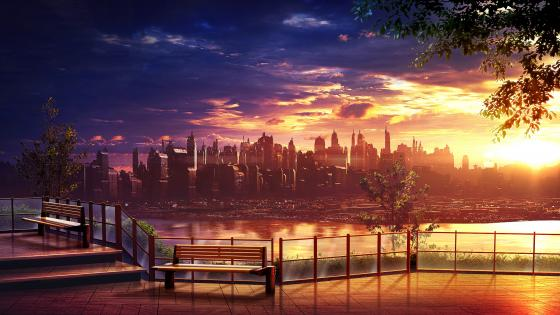 Futuristic Anime Cityscape At Sunset wallpaper