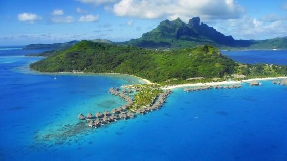 Bora Bora aerial view wallpaper