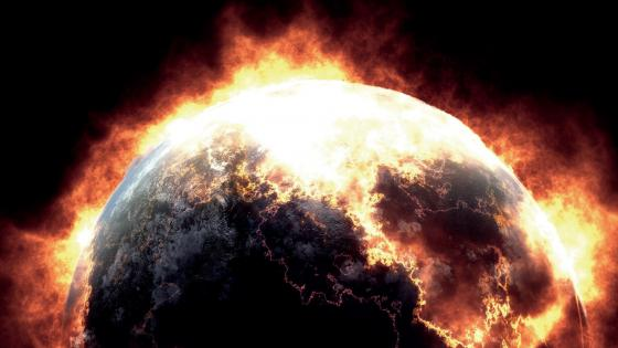 burning planet wallpaper