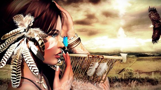 Indian girl with pipe wallpaper