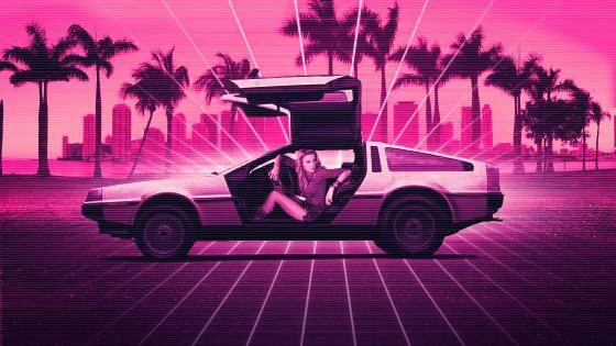 Retrowave Delorean wallpaper
