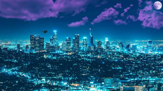 Los Angeles fantasy night cityscape wallpaper