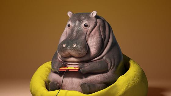 Gamer Hippo baby wallpaper