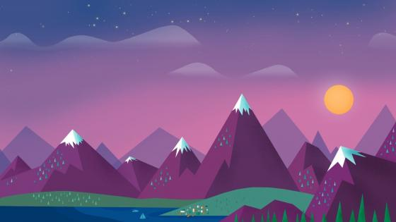 Purple mountains minimal landscape wallpaper