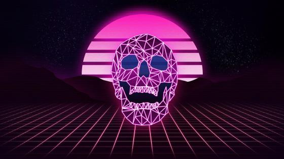 Synthwave skull wallpaper