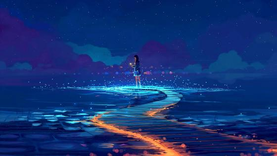 Girl Long Hair In The Night Water wallpaper