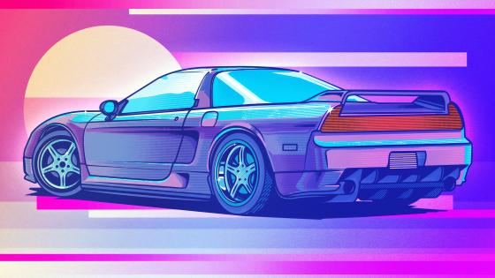 Honda NSX retrowave art wallpaper