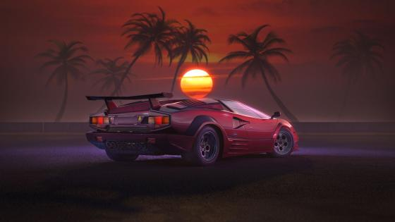 Lamborghini Countach retrowave sunset wallpaper