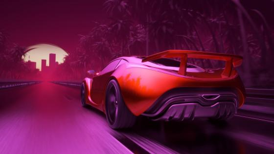 Synthwave sports car wallpaper