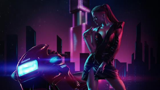 Cyberpunk girl with Ducati wallpaper