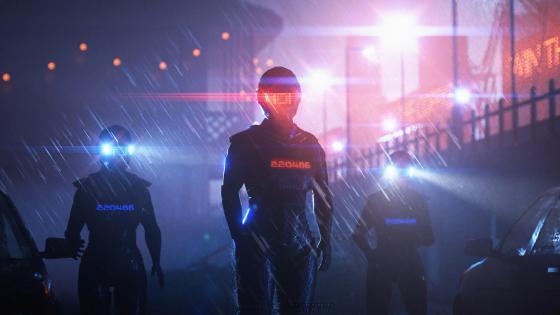 Scifi robot police wallpaper