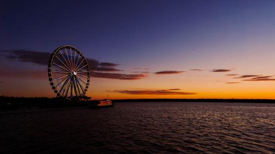 Ferris wheel at sunset wallpaper