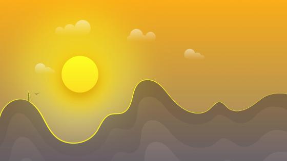 Minimal summer sunset landscape wallpaper