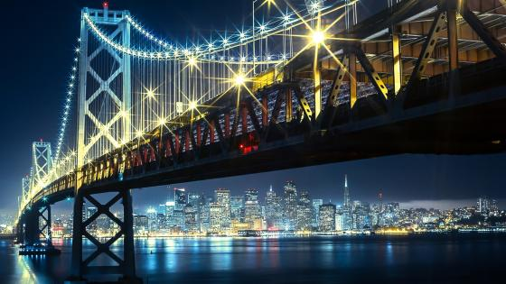 Oakland Bay Bridge by night wallpaper