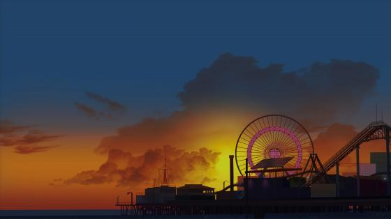 Ferris wheel digital art wallpaper