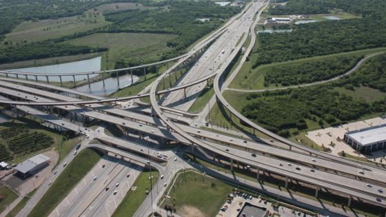 Looking Southeast at the Interchange of I-35E & SH 121 Rayburn Turnpike  wallpaper