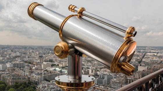 Telescope on the Observation Deck of the Eiffel Tower wallpaper
