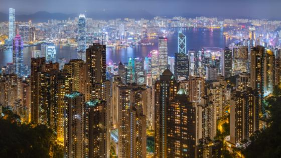 Hong Kong City Lights Viewed from Victoria Peak wallpaper