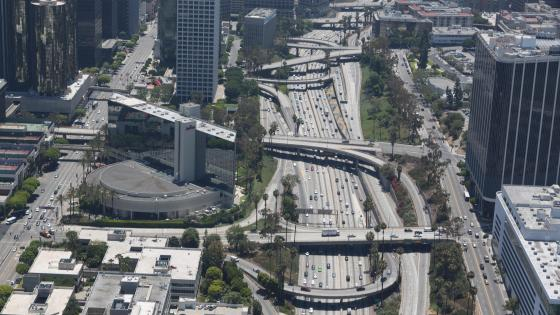 Aerial View of a Freeway in Downtown Los Angeles wallpaper