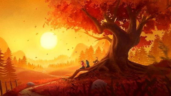 Young Couple Watching the Sunset wallpaper