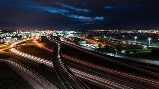 Light Trails on I-70 near St. Louis Lambert International Airport wallpaper