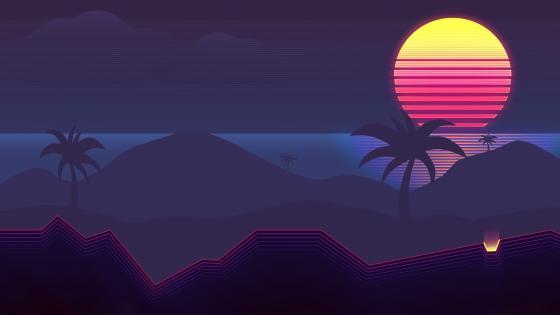 Palms at sunset retrowave art wallpaper