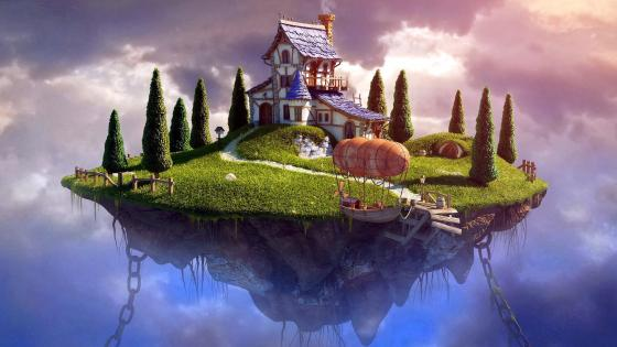 Floating island with house wallpaper