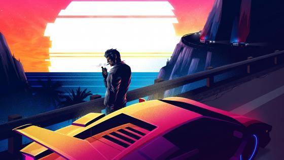 Retrowave smoking man wallpaper
